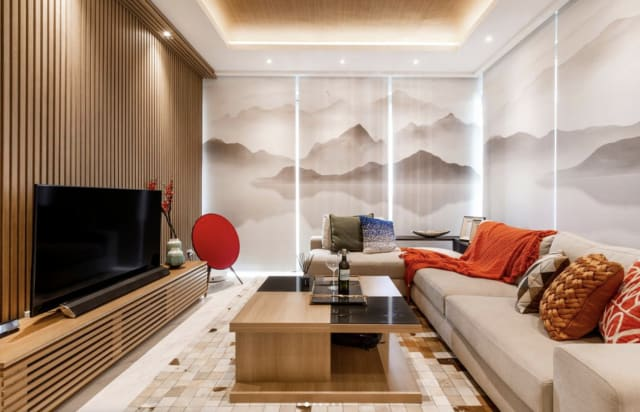 This shows how vertical wood panels can bring an earthy and japanese vibe to a flat