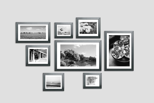 several framed photographs on a wall