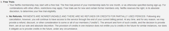 A screenshot of Netflix's Terms & Conditions specifying that free trials will automatically convert into a paying membership, and that payments are refundable.