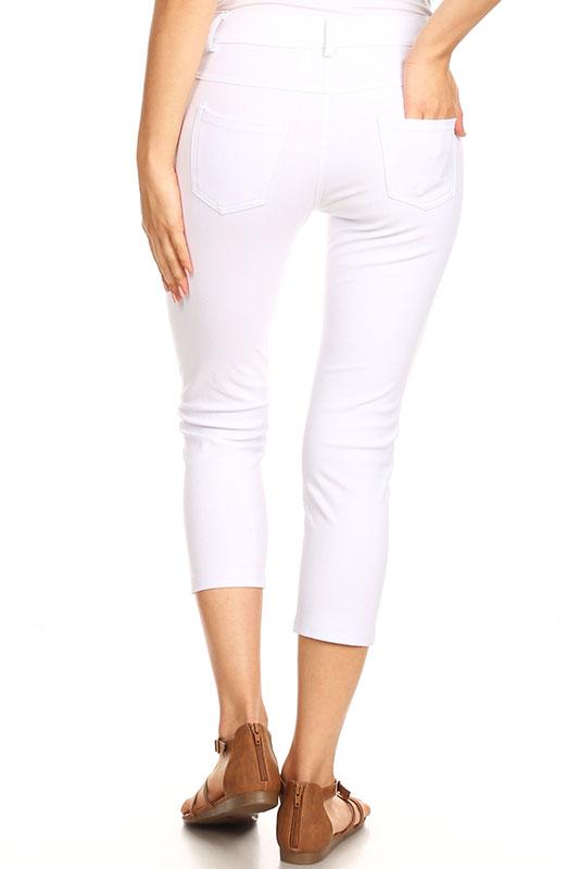 Skinny Capri Jeggings Leggings Women/'s Ladies Stretchy Denim Pants Classic Solid