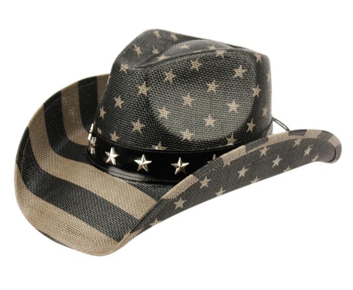 d2ca80c4a Details about American Flag Cowboy Hat Shapeable Brim Distressed Vintage  Classic USA Unisex