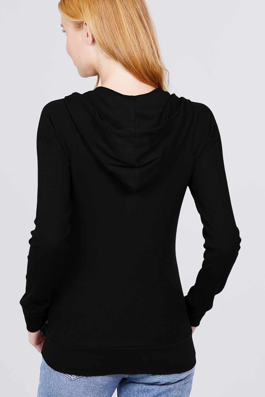 thumbnail 3 - Women's Basic Zip Up Hoodie Thermal Jacket Lightweight Pockets Drawstrings