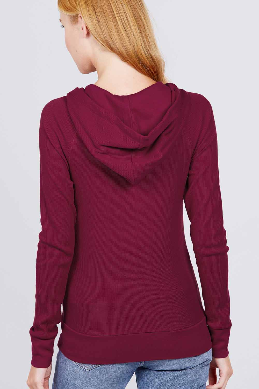 thumbnail 5 - Women's Basic Zip Up Hoodie Thermal Jacket Lightweight Pockets Drawstrings