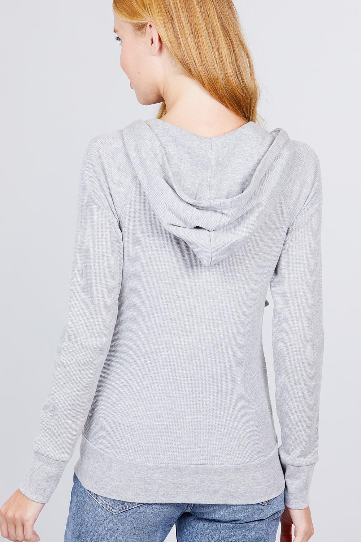 thumbnail 9 - Women's Basic Zip Up Hoodie Thermal Jacket Lightweight Pockets Drawstrings