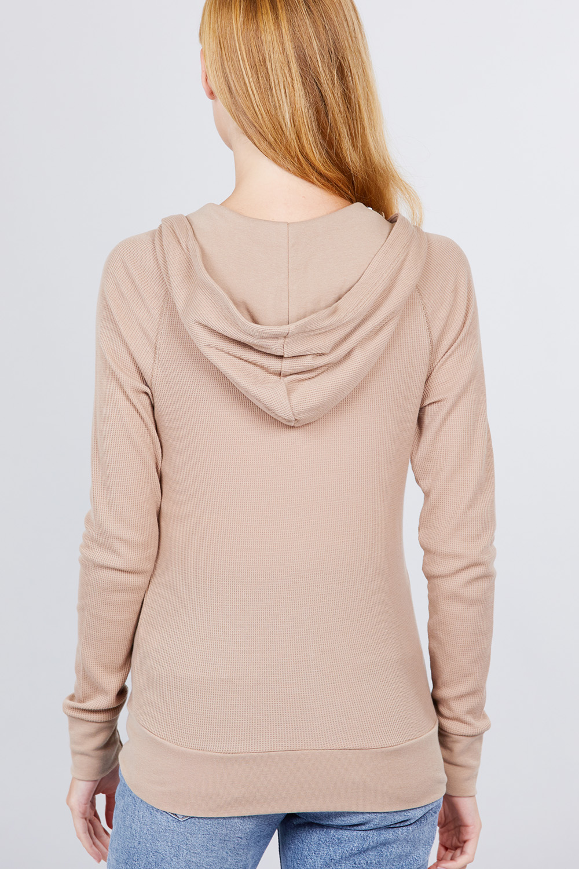 thumbnail 11 - Women's Basic Zip Up Hoodie Thermal Jacket Lightweight Pockets Drawstrings