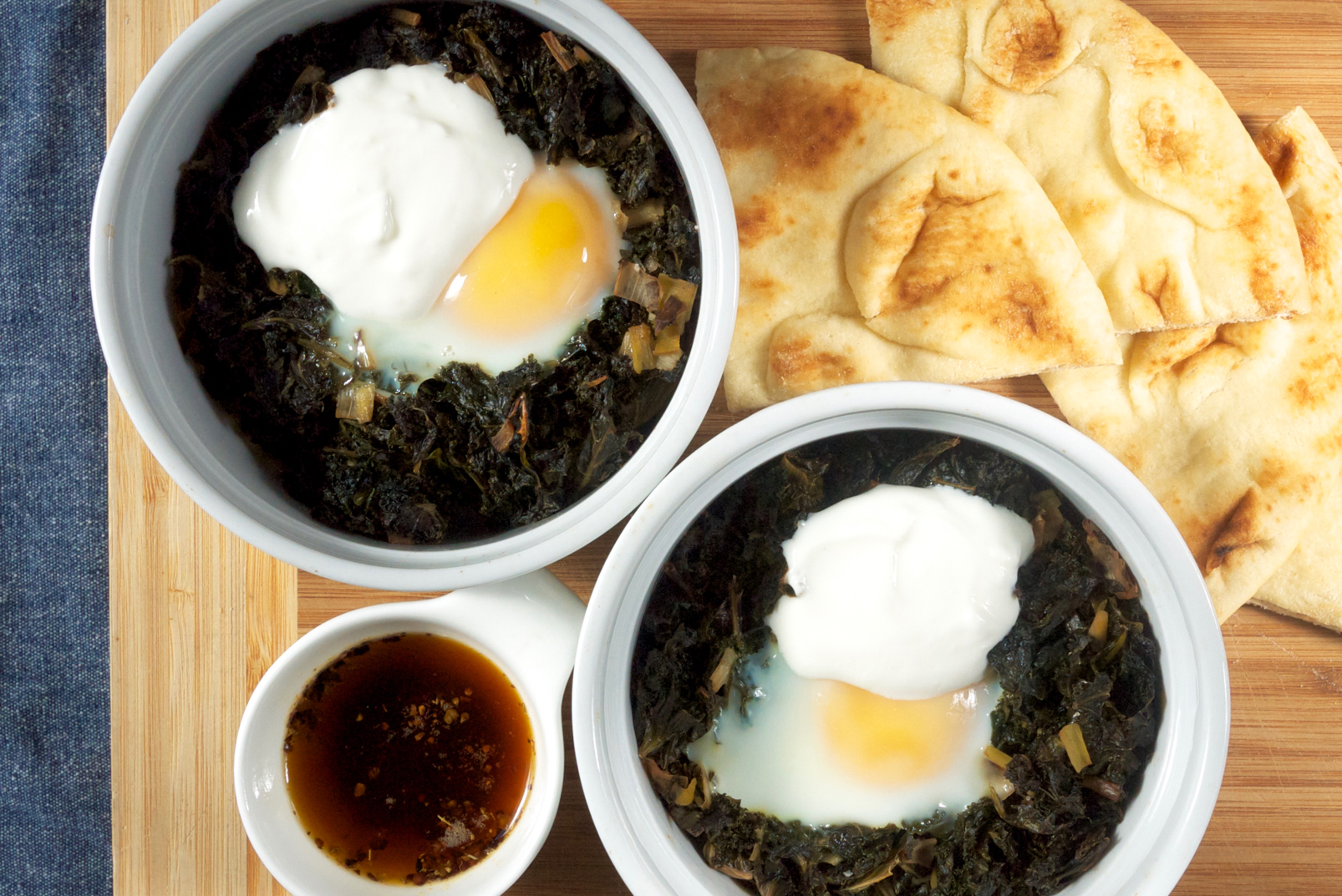 Baked Eggs with Kale, Yogurt, and Spiced Butter
