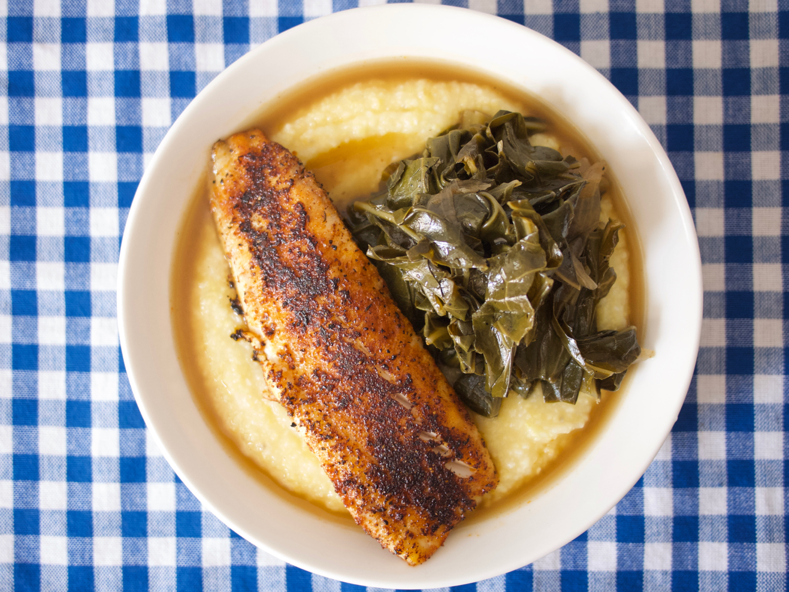 Blackened Fish with Smoky Braised Collards and Polenta