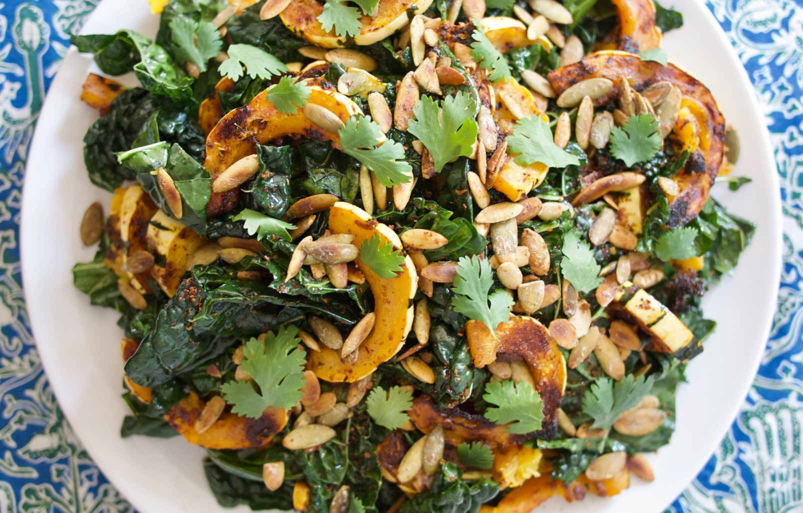 Miso-Harissa Roasted Delicata Squash and Kale Salad