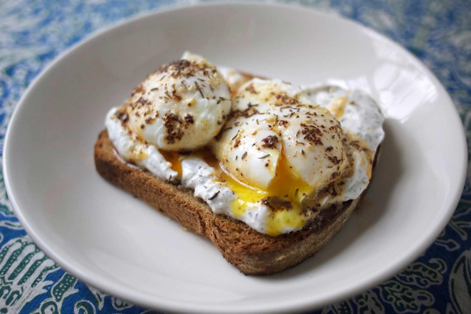 Poached Eggs with Garlic and Zahtar Yogurt