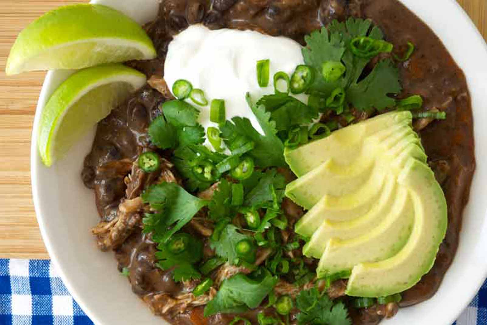 Smoky, Spicy Black Bean Soup with Braised Chicken