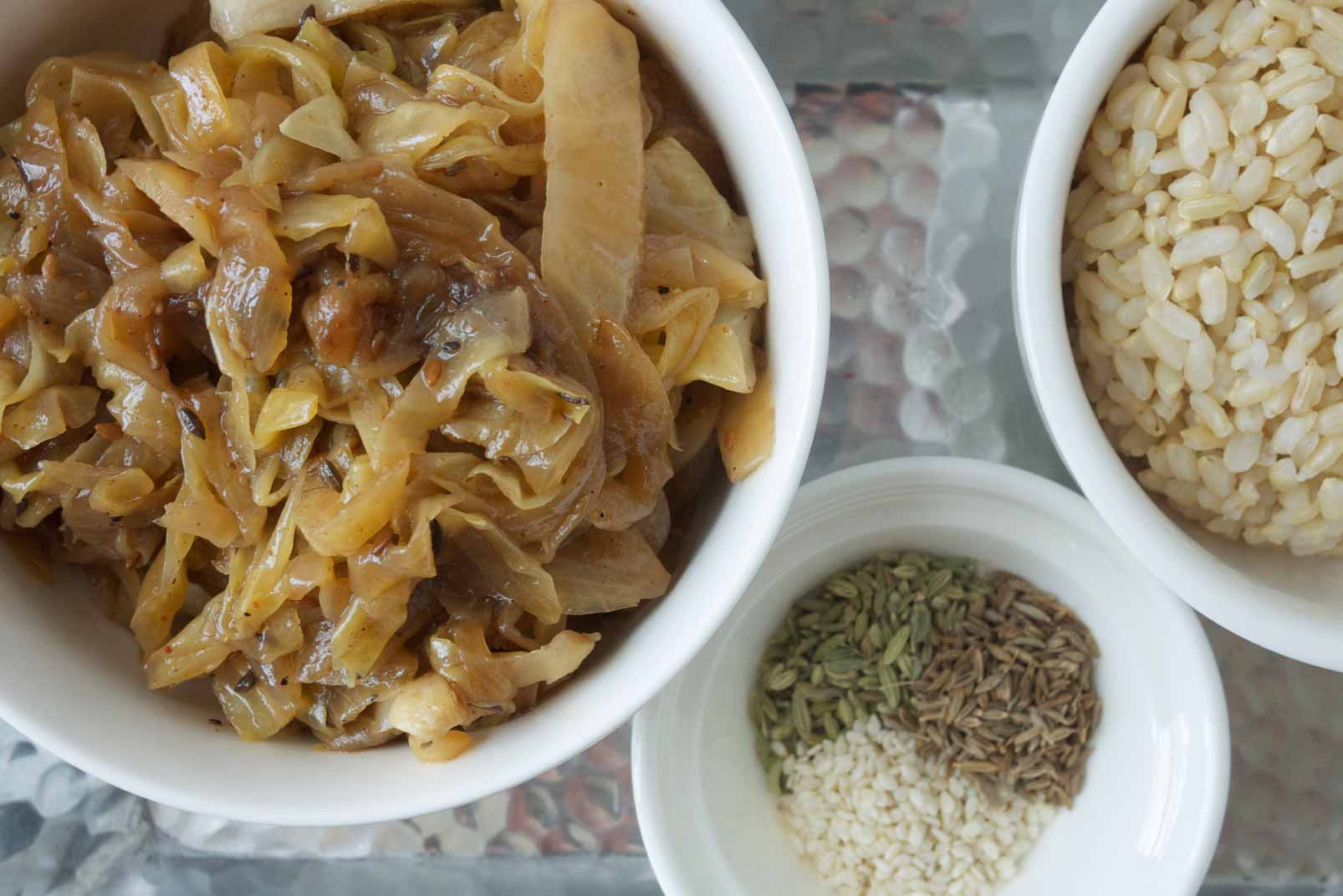 Stir-Fried Cabbage with Fennel, Cumin, and Sesame Seeds