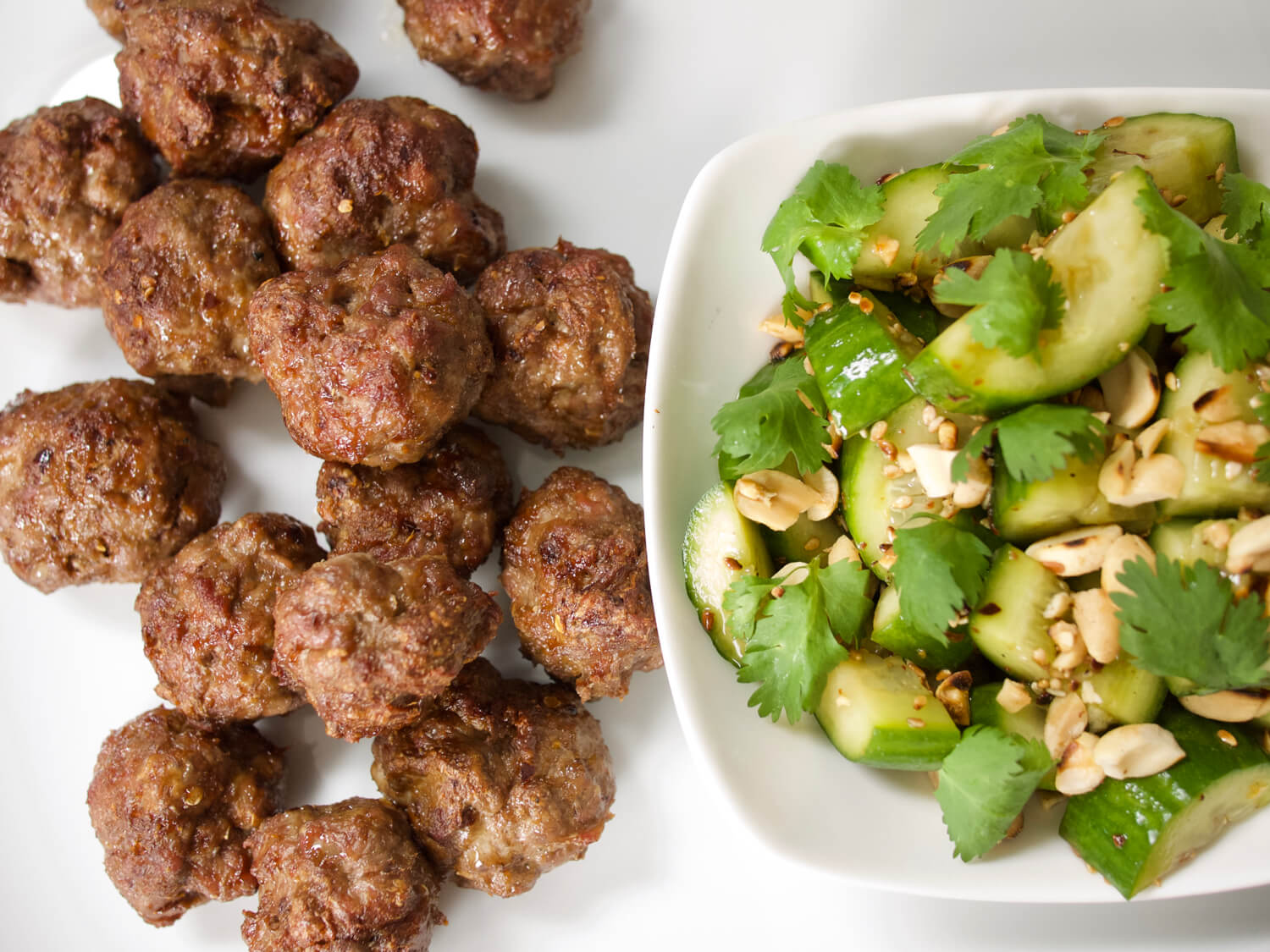Spicy Cumin Lamb Meatballs with Sichuan Cucumber Salad