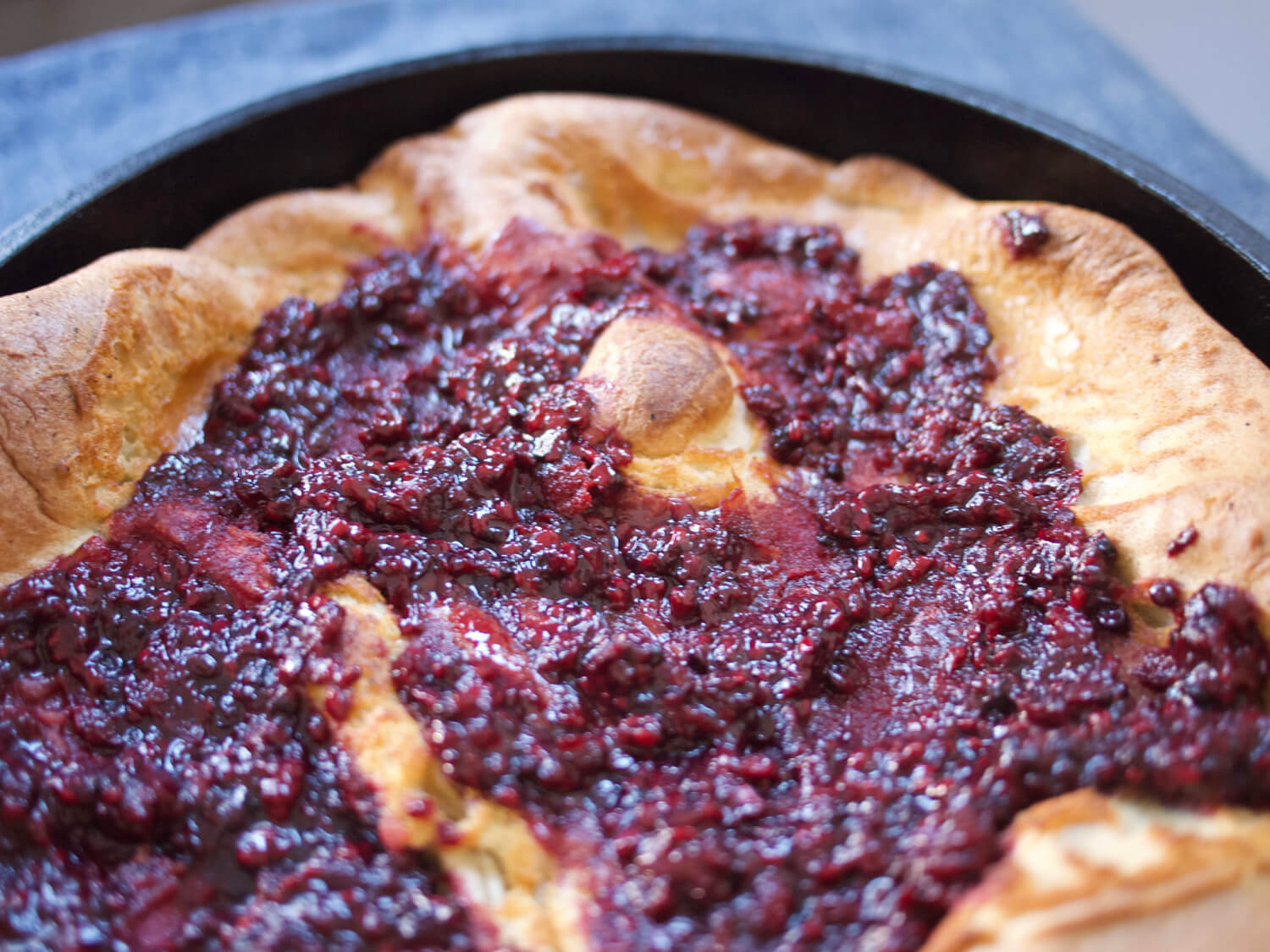 Cardamom Dutch Baby with Blackberry Compote
