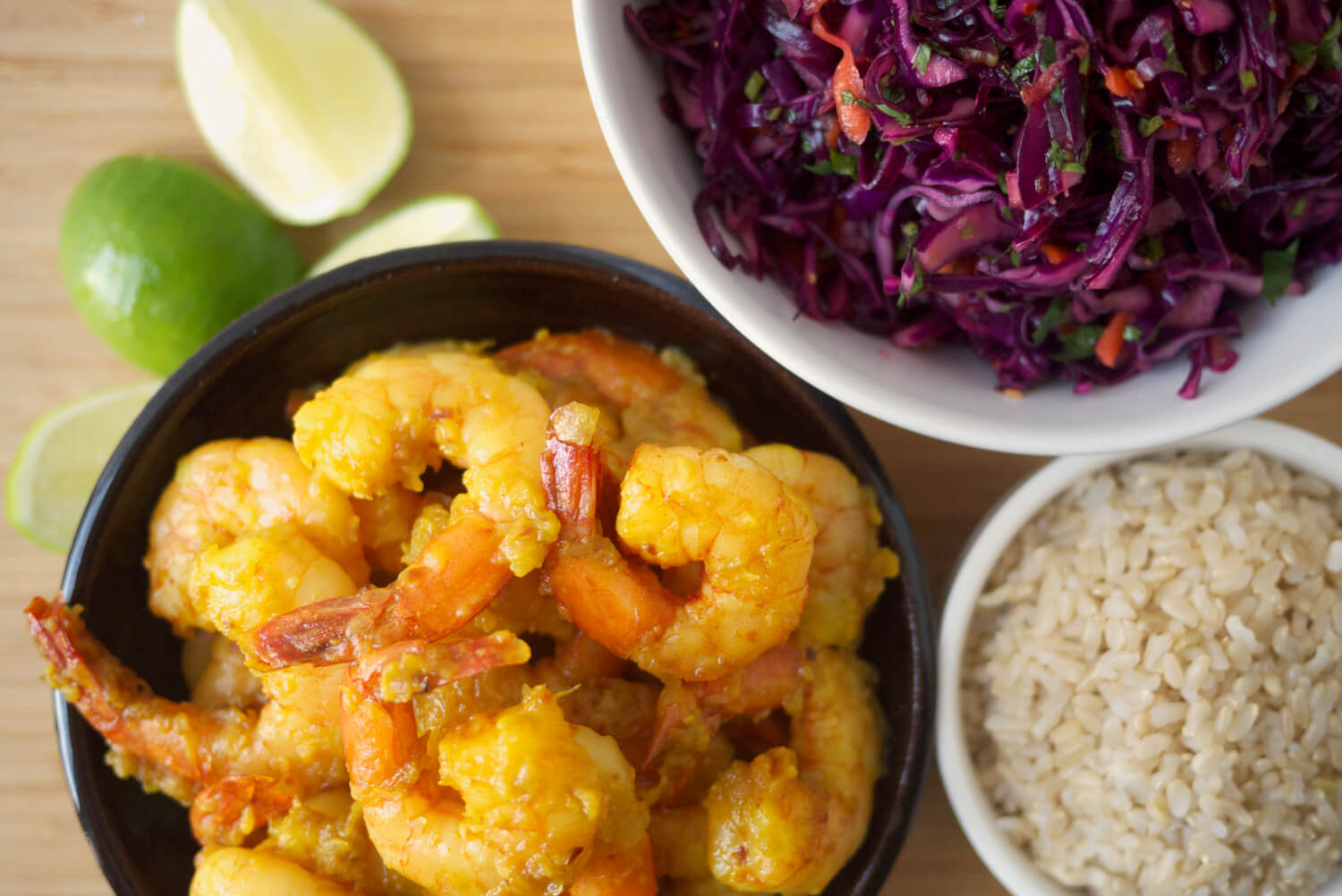 Turmeric-Chili Shrimp with Spicy Slaw