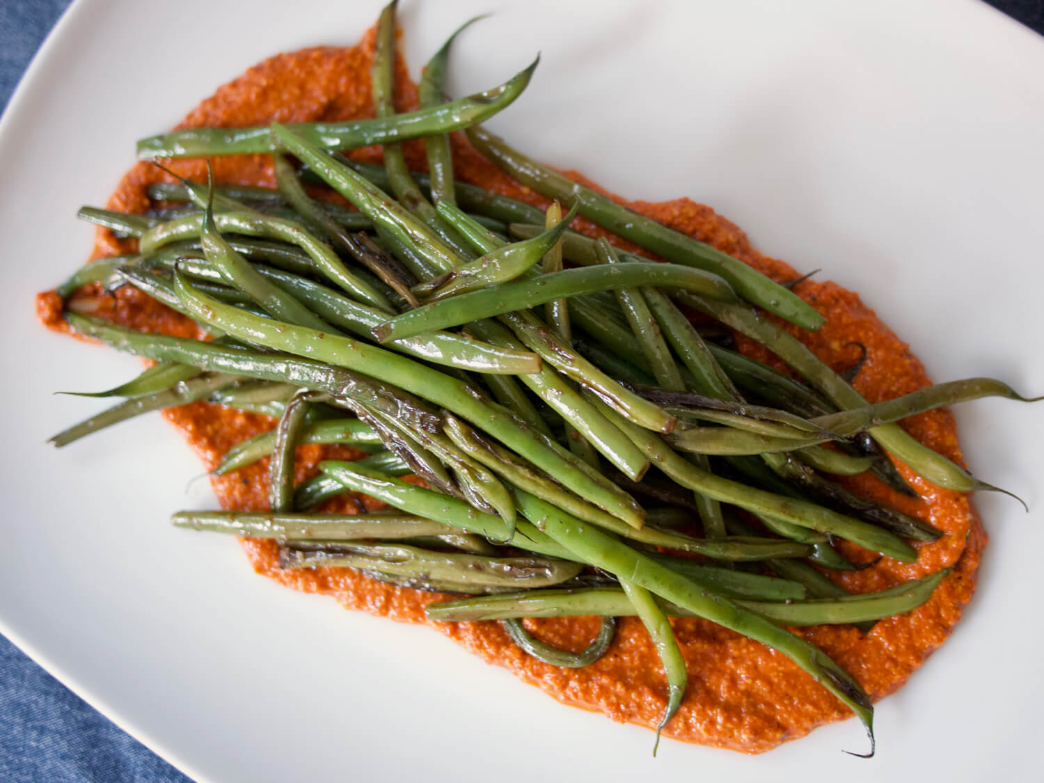 Garlicky Green Beans with Romesco Sauce