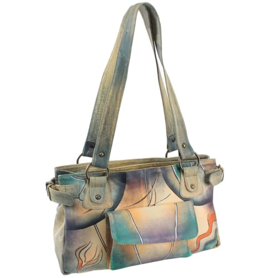 Greenland NATURE Art + Craft Henkeltasche Leder 34 cm Damen multicolor