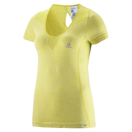Salomon ELEVATE SEAMLESS TEE Laufshirt Damen gelb