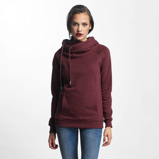 Urban Classics RAGLAN HIGH NECK HOODY CHERRY Damen rot