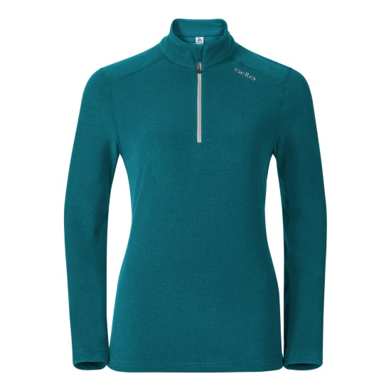 Odlo LE TOUR MIDLAYER 1/2 ZIP sweat polaire femme bleu pétrol