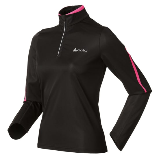 Odlo STAND-UP COLLAR LS 1/2 ZIP ACTIVE Funktionsshirt Damen schwarz-lila
