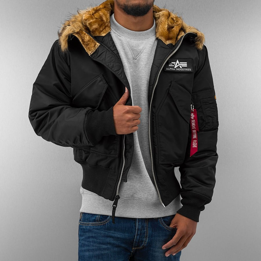 alpha industries s 45p hooded custom bomber jacket. Black Bedroom Furniture Sets. Home Design Ideas