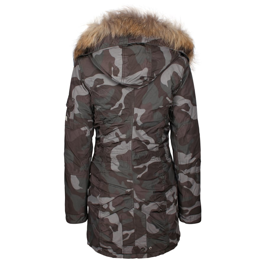 dreimaster parka damen camouflage oliv vaola. Black Bedroom Furniture Sets. Home Design Ideas