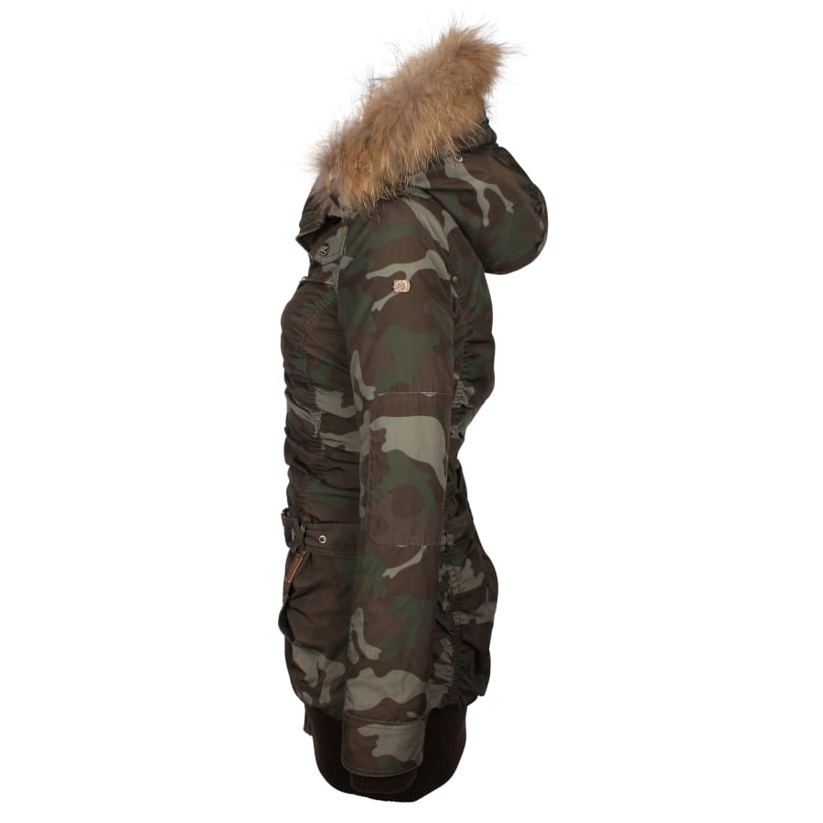 DreiMaster | KURZMANTEL Damen | camouflage oliv | VAOLA