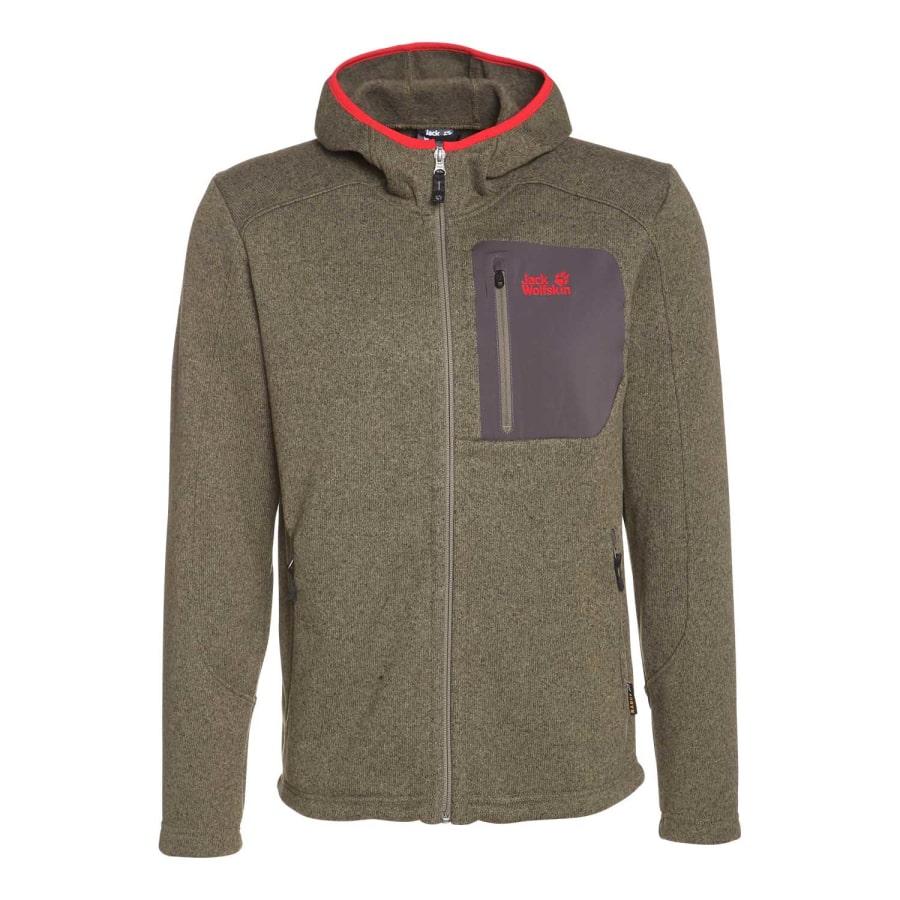 jack wolfskin caribou hooded jacket knit fleece jacket. Black Bedroom Furniture Sets. Home Design Ideas