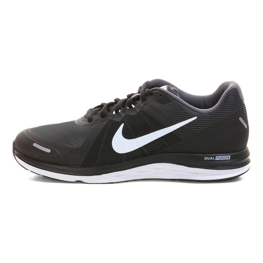 nike dual fusion x 2 running shoes men black grey white vaola. Black Bedroom Furniture Sets. Home Design Ideas