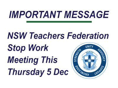 NSW Teacher Federation Stop Work Meeting Thursday 5 Dec 2019