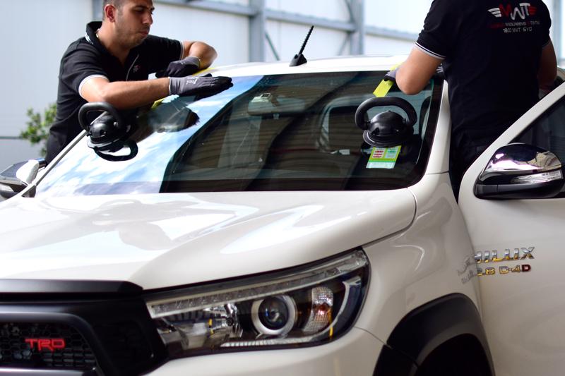 MWT Auto Glass Technicians Replacing Car Windscreen