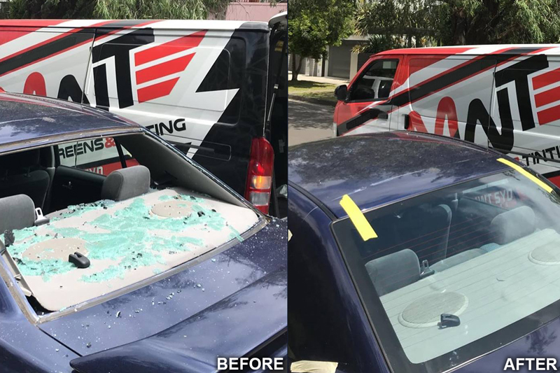 Before and After of Car Window Glass Repaired