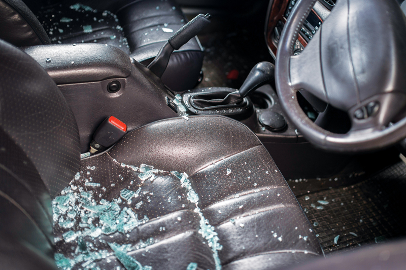 Broken glass on car seat