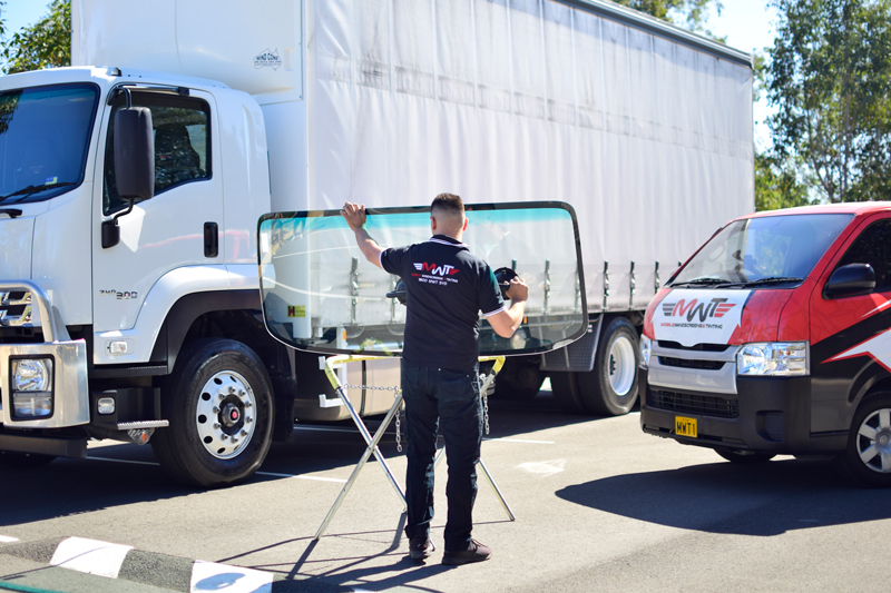 MWT Auto Glass Technician Replacing Truck Windscreen