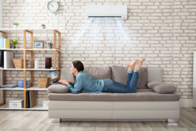 Split System Air Conditioner Installed in Living Room