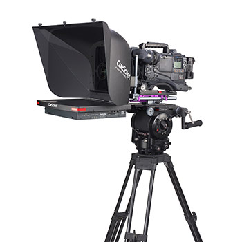 Studio camera with teleprompt