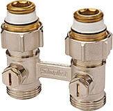 H-ventil for radiator med avstenging