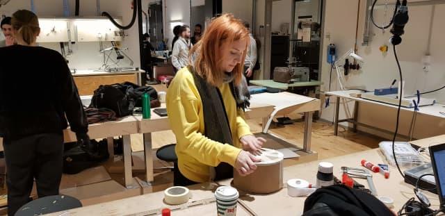 Lottie working on the drum
