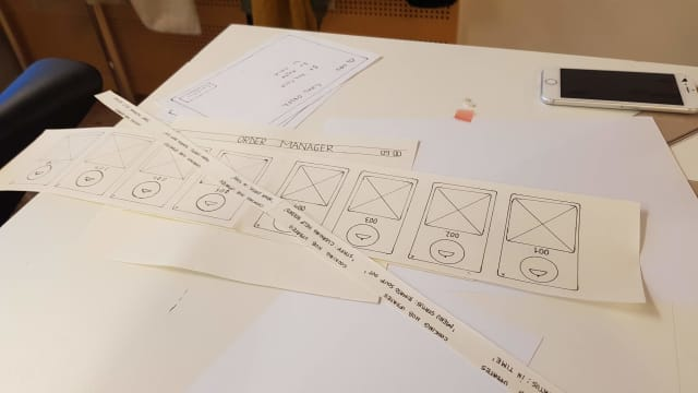 Paper prototypes of UI on a table