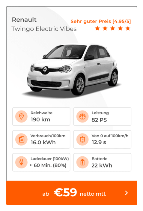 Renault Twingo Electric Vibes E-Auto Leasing