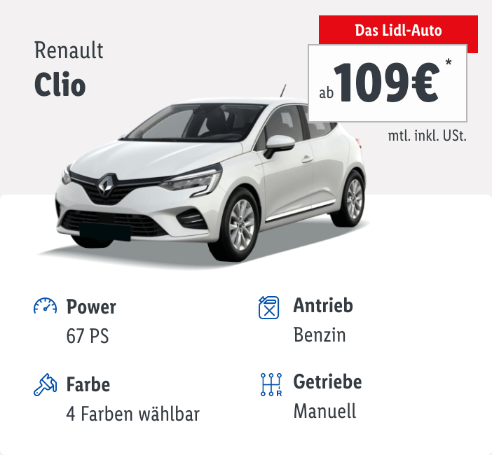 Renault Clio Lidl-Auto Leasingangebot