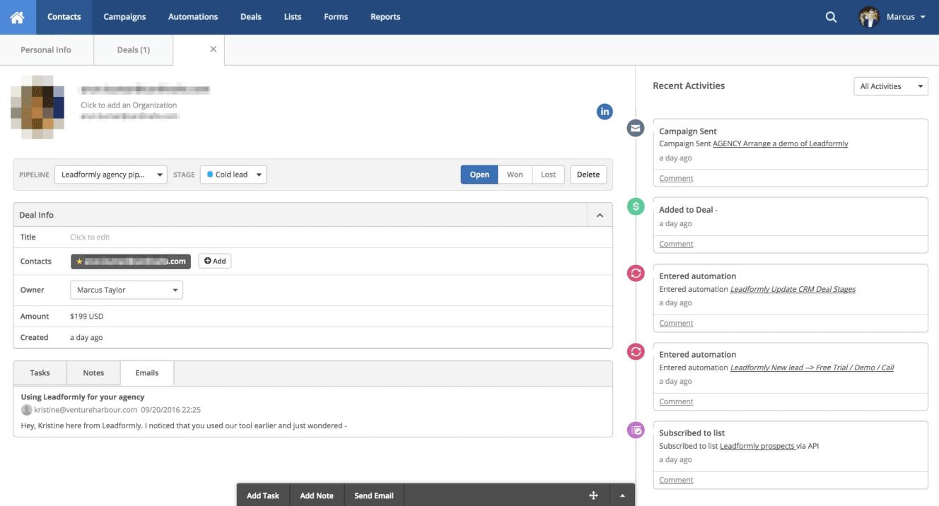 ActiveCampaign CRM profile page