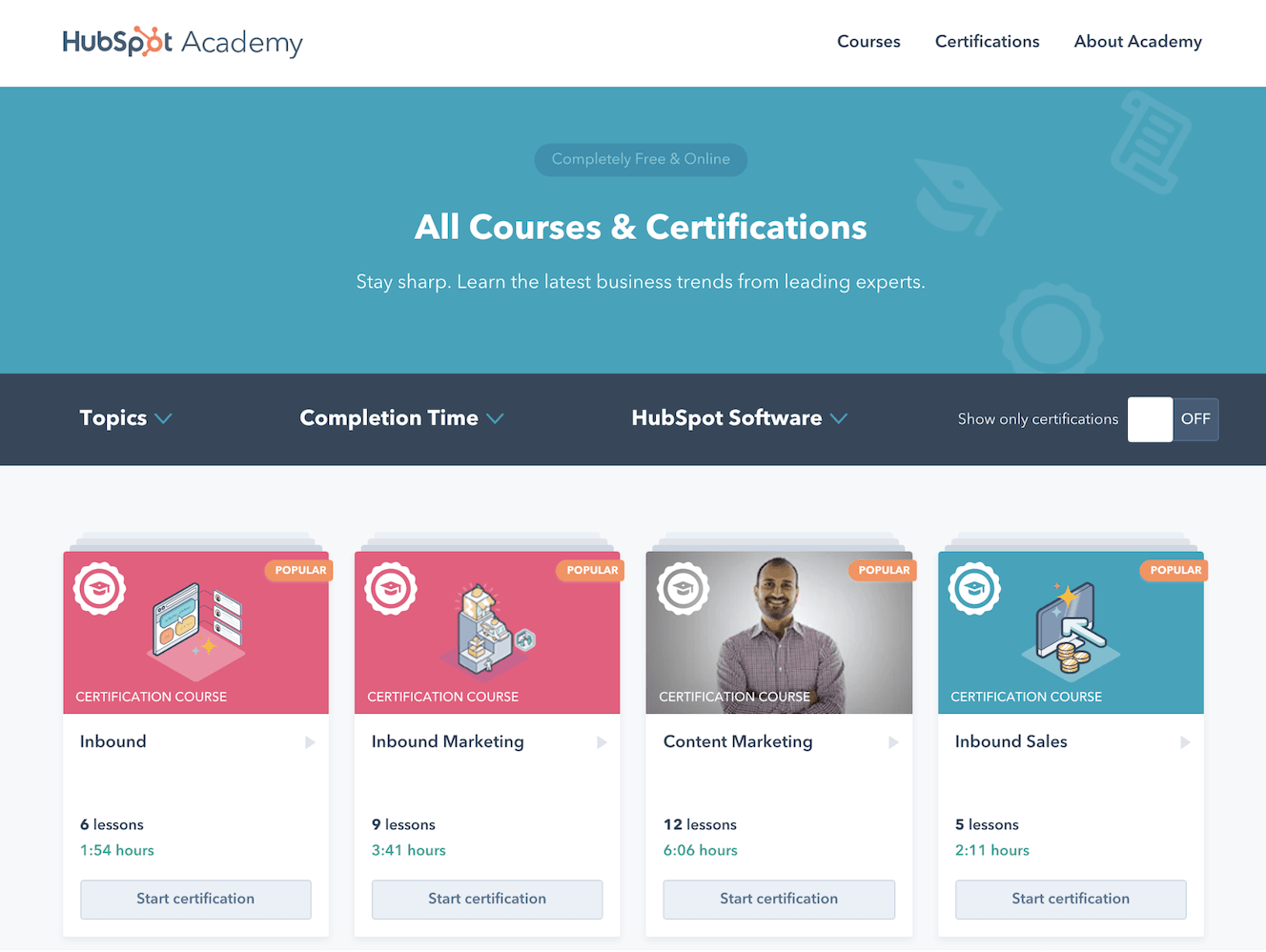 Hubspot courses and certifications