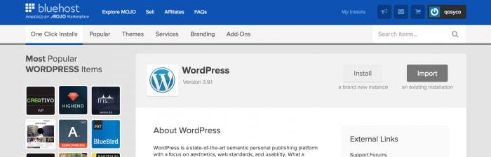One click WordPress install