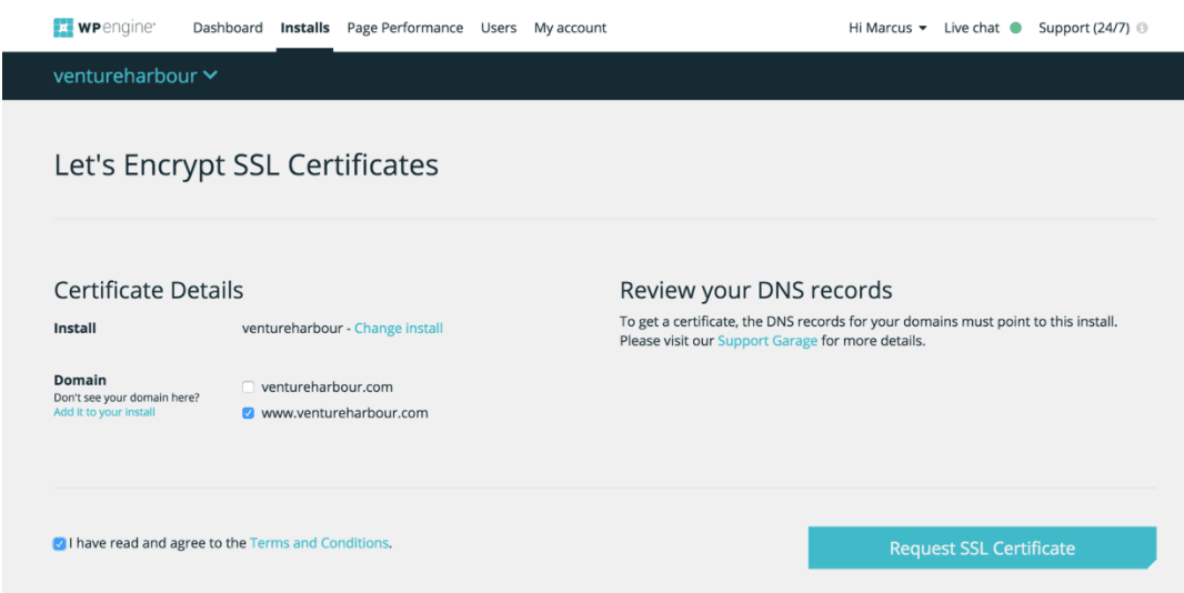 WP Engine SSL certificates