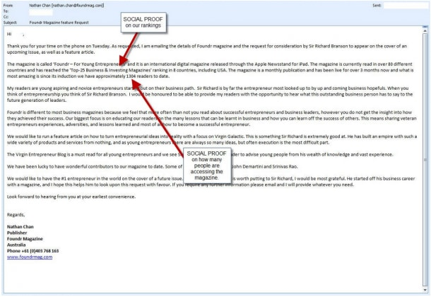 Social proof email