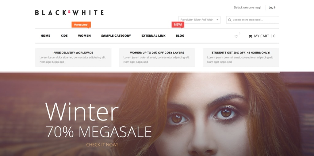 Black and White Magento theme