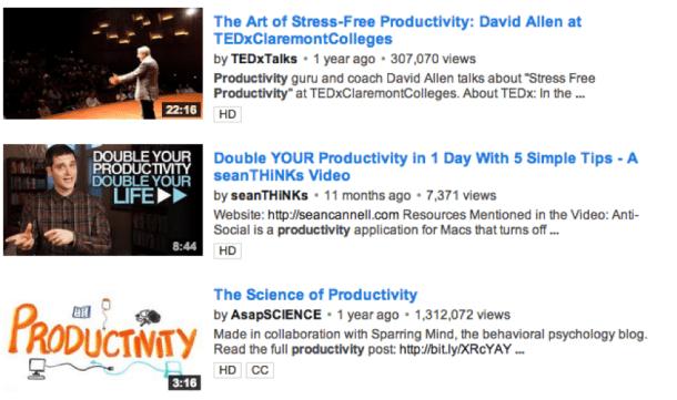 YouTube Productivity Videos