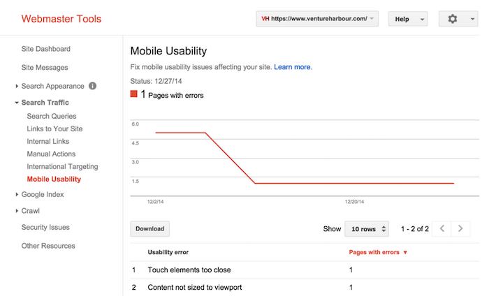 Mobile usability in Google WMT