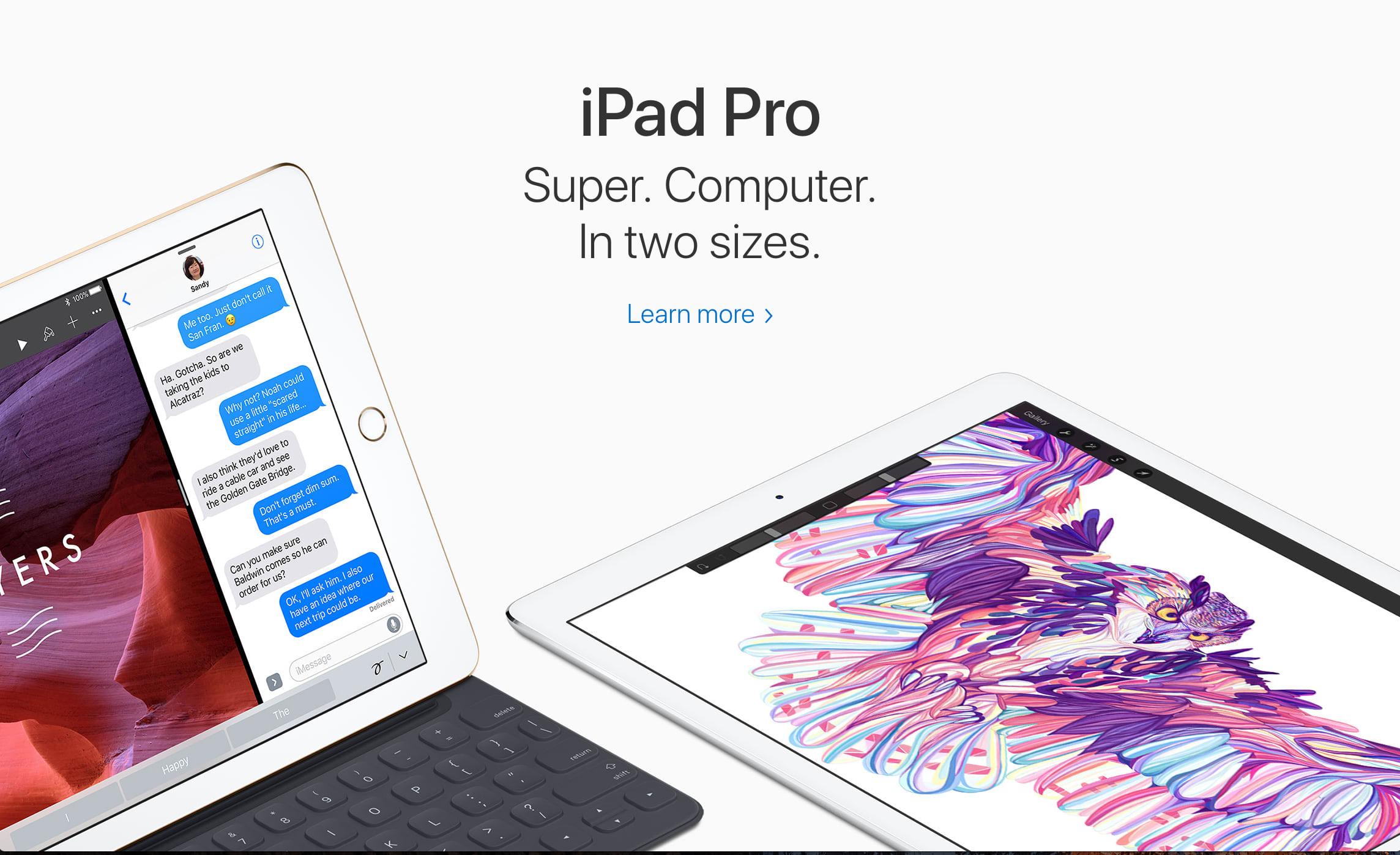 iPad landing page